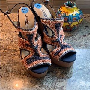 Lucky Brand crochet wedges NWOT